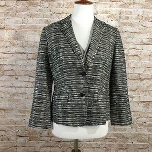 Ann Taylor LOFT 100% Linen Blazer Black and Cream